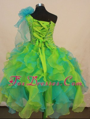 Multi-color Flower Girl Pageant Dress With Ruffles and Flowers