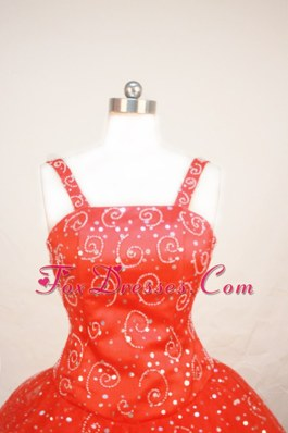 Beautiful Straps Beading Red Little Girl Pageant Dress