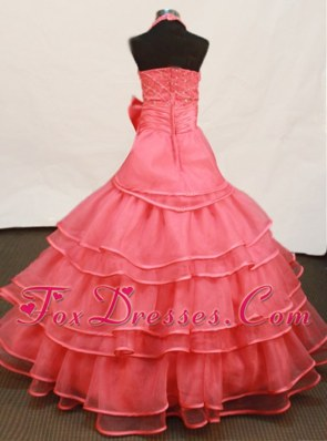 Beaded Halter Bowknot Watermelon Little Girl Pageant Dress