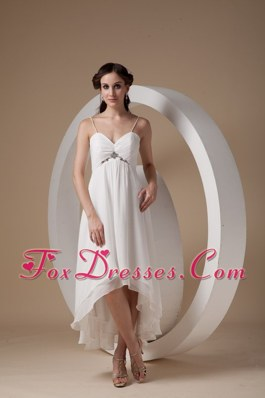 Empire Spaghetti Wedding Dress Straps High-low Chiffon Ruch