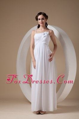 Spaghetti Straps Wedding Dress Ankle-length Chiffon Ruch Floral