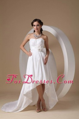 Sweetheart High-low Wedding Dress Taffeta Hand Made Flowers