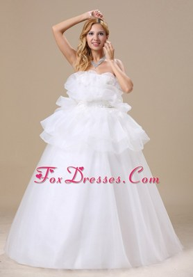 Appliques Strapless Organza 2013 Wedding Dress for Maternity