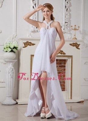 Empire Halter High-low Chiffon Beading Wedding Dress Maternity