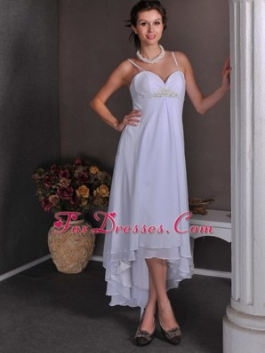 White Empire Cocktail Dress Spaghetti Straps High-low Chiffon