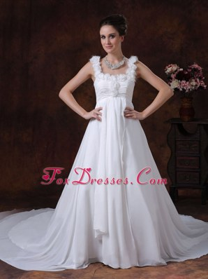 A-Line Straps Chapel Train Chiffon 2013 Wedding Dress Handle-Made