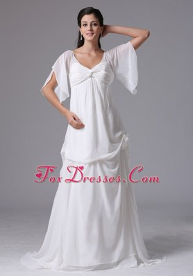 Simple Scoop Short Sleeves Wedding Dress With Chiffon
