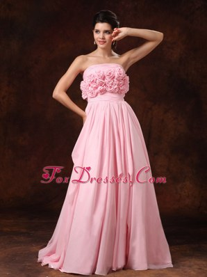 Pink Strapless Empire Chiffon Court Train Wedding Dress