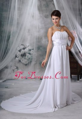 Ruched Court Train Wedding Dress Strapless Chiffon For 2013