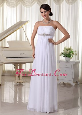 White Beaded Chiffon Simple Wedding Dress Empire