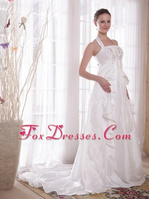 White A-Line Princess Halter Brush Ttrain Wedding Dress