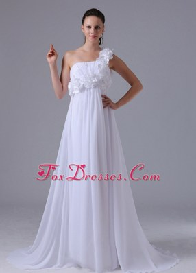 Hand Made Flowers Ruch Wedding Dress One Shoulder 2013