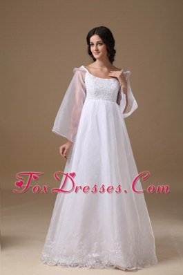 A-line Scoop Floor-length Wedding Dress Organza Lace