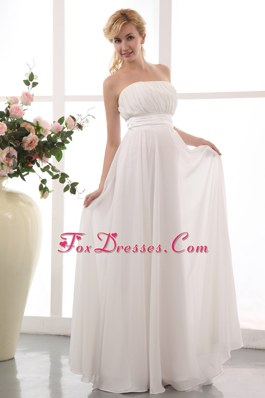 White Empire Strapless Chiffon Ruch Maternity Dress
