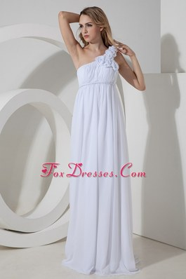 Empire One Shoulder Wedding Dress Floor-length Chiffon