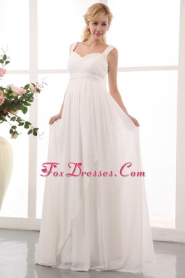 Straps Brush Train Maternity Dress Chiffon Beading