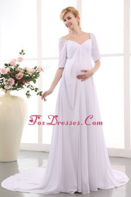 Empire V-neck Court Train Chiffon Ruch Maternity Dress