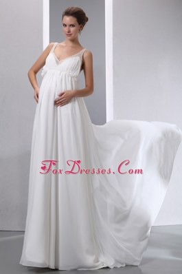 A-line V-neck Brush Train Chiffon Maternity Wedding Dress