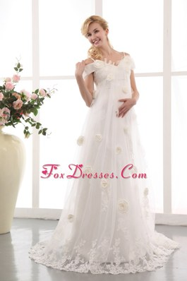 A-line Court Train Maternity Dress Tulle Appliques Floral