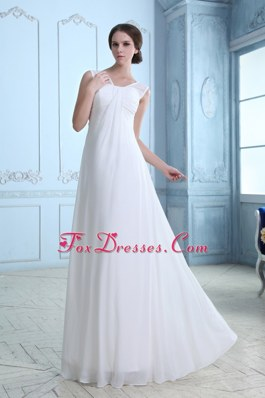 Empire V-neck Floor-length Chiffon Ruch Wedding Dress