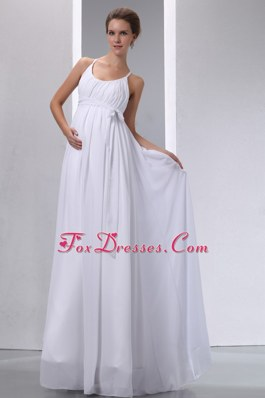 Empire Scoop Wedding Dress Floor-length Chiffon Ruch