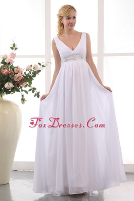 Empire V-neck Ankle-length Chiffon Beading Maternity Dress