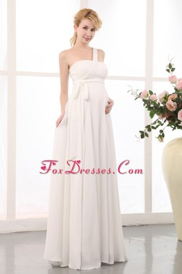 Empire One Shoulder Maternity Dress Floo-length Chiffon