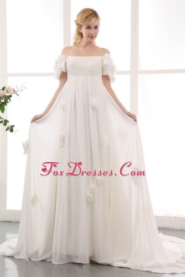 Chapel Train Chiffon Lace Hand Made Flowers Maternity Dress