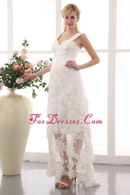 Column Straps Maternity Dress Ankle-length Chiffon Lace