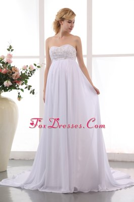 Empire Sweetheart Maternity Dress Chapel Train Beading