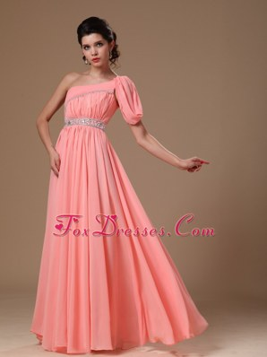 Watermelon One Shoulder Chiffon Maxi Dresses with Beads