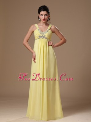 Beaded Light Yellow Straps Empire Chiffon Maxi Dress