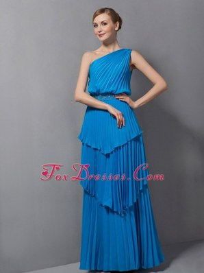 One Shoulder Blue Floor-length Chiffon Pleat Pageant Dresses
