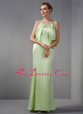 Spring Green Scoop Floor-length Pageant Dresses with Beading