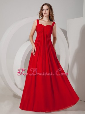 Red Straps Floor-length Chiffon Ruche Maxi Evening Dresses