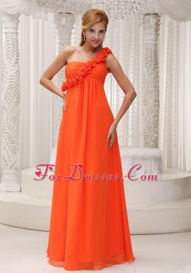 Hand Made Flowers Prom Dresses One Shoulder Orange