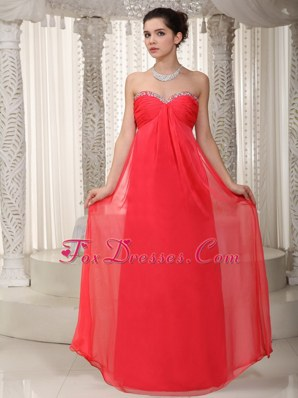 Sweetheart Coral Red Floor-length Beading MaxiCelebrity Dresses