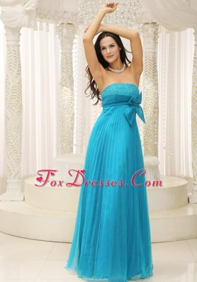 Beading Teal Evening Dresses with Bowknot and Pleat