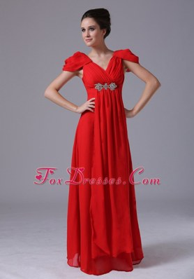 Beading V-neck Short Sleeves Maxi Pageant Dresses in Red