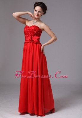Sweetheart Red Maxi Pageant Dresses with Bowknot
