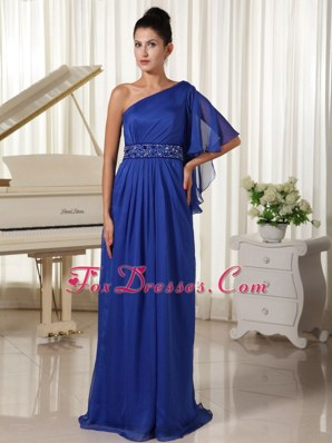 One Shoulder 12-length Sleeve Beading Royal Blue Prom Dress
