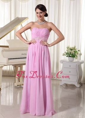 Baby Pink Ruched Sweetheart MaxiCelebrity Dresses with Appliques