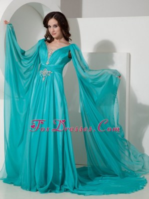 V-neck Turquoise Beading MaxiCelebrity Dresses Court Train