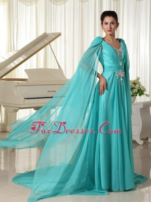 Long Sleeves V-neck Turquoise Celebrity Dresses with Appliques