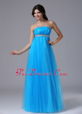 Custom Made Aqua Blue 2013 Maxi Pageant Dresses Strapless