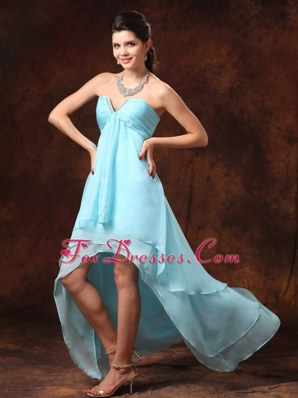 Auqa Blue High-low Sweetheart Pageant Dresses with Beading