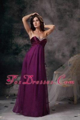 Purple Sweetheart Long Chiffon Beading Prom Maxi Dress