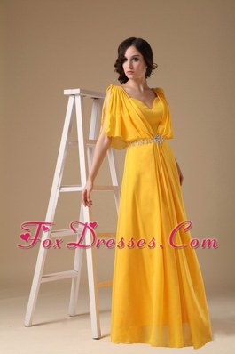 Yellow V-neck Long Beading Maxi Evening Dresses