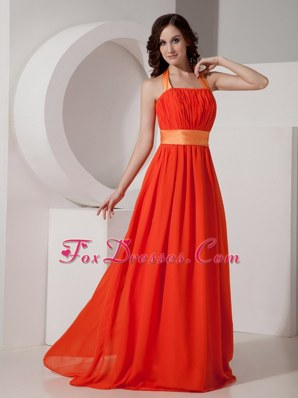 Coral Halter Floor-length Evening Dresses with Sash