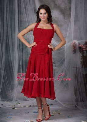 Halter Tea-length Wine Red Column Chiffon Celebrity Dresses